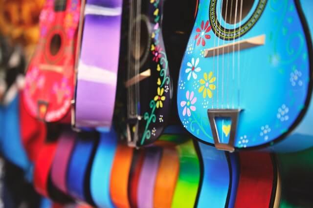 Guitar colorful festival instrument music cultur